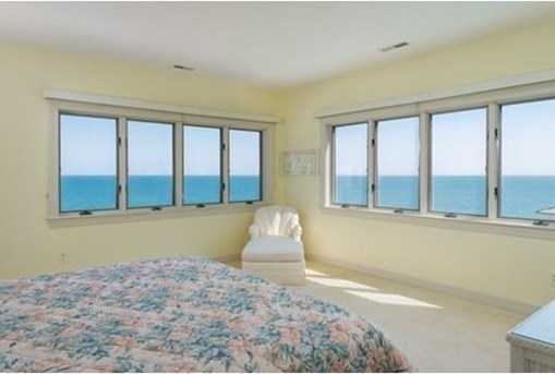 Large master bedroom with great ocean views, fireplace, private deck and master bath.
