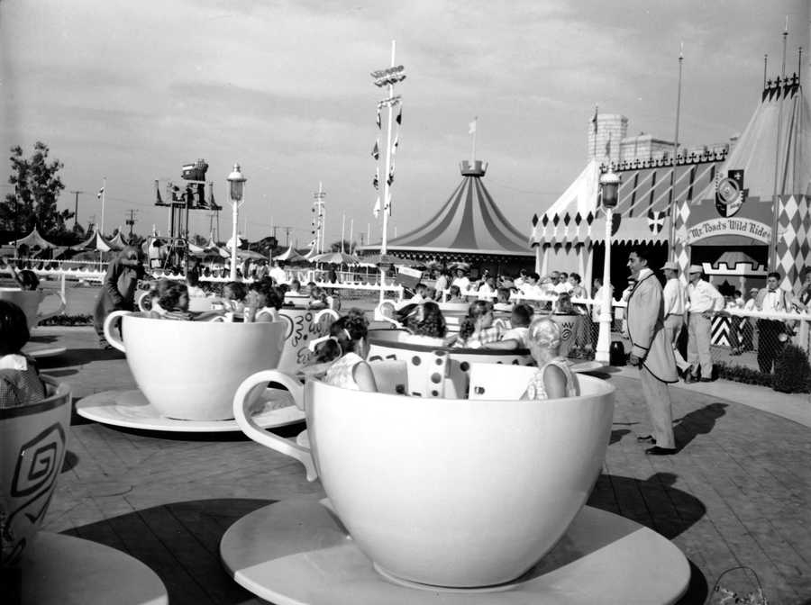 Children are enjoying the cup and saucer ride in Disneyland in Anaheim, Calif., on July 19, 1955.