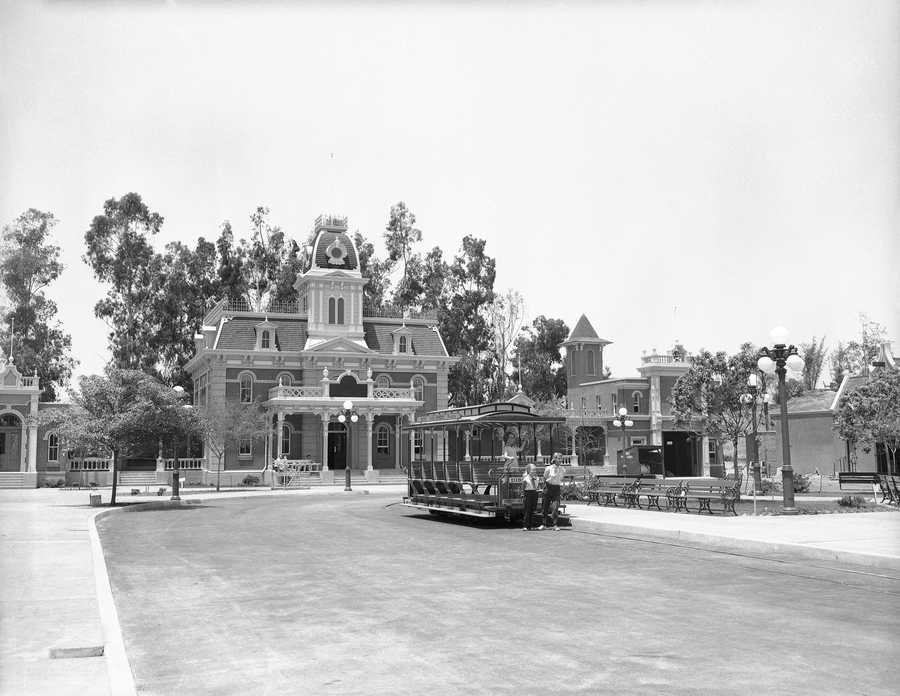 The City Hall on the edge of the city square will also be the offices for the public relations department of Disneyland in California, June 7, 1955. The horse car will make regular trips around the city square and the main street of the 1890 town.