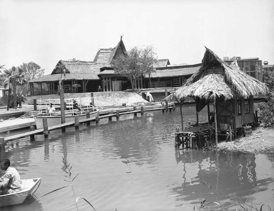 A taste of Tahitian scenery at Adventureland, one of the sections of the Disneyland in California, at the point of embarkation, June 7, 1955. From here the adventurers will travel along a manmade river full of animated hippos and crocodiles in an explorers' boat for a trip over the Adventureland section of the park.
