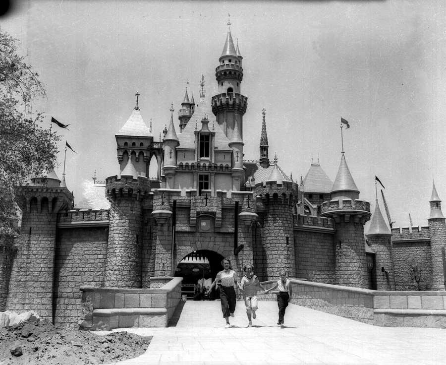 This pastle-colored Sleeping Beauty Castle, shown in this July 5, 1955 photo near completion, is to be the entrance of Fantasyland, one of the sections in the Disneyland Park which is to open on July 17, 1955.