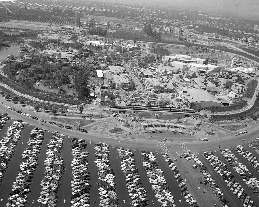 This aerial view shows Disneyland as 22,000 invited guests attend opening day festivities of the amusement park in Anaheim, Ca., on July 17, 1955. The 160-acre theme park, built on an orange grove, will open to the public July 18.
