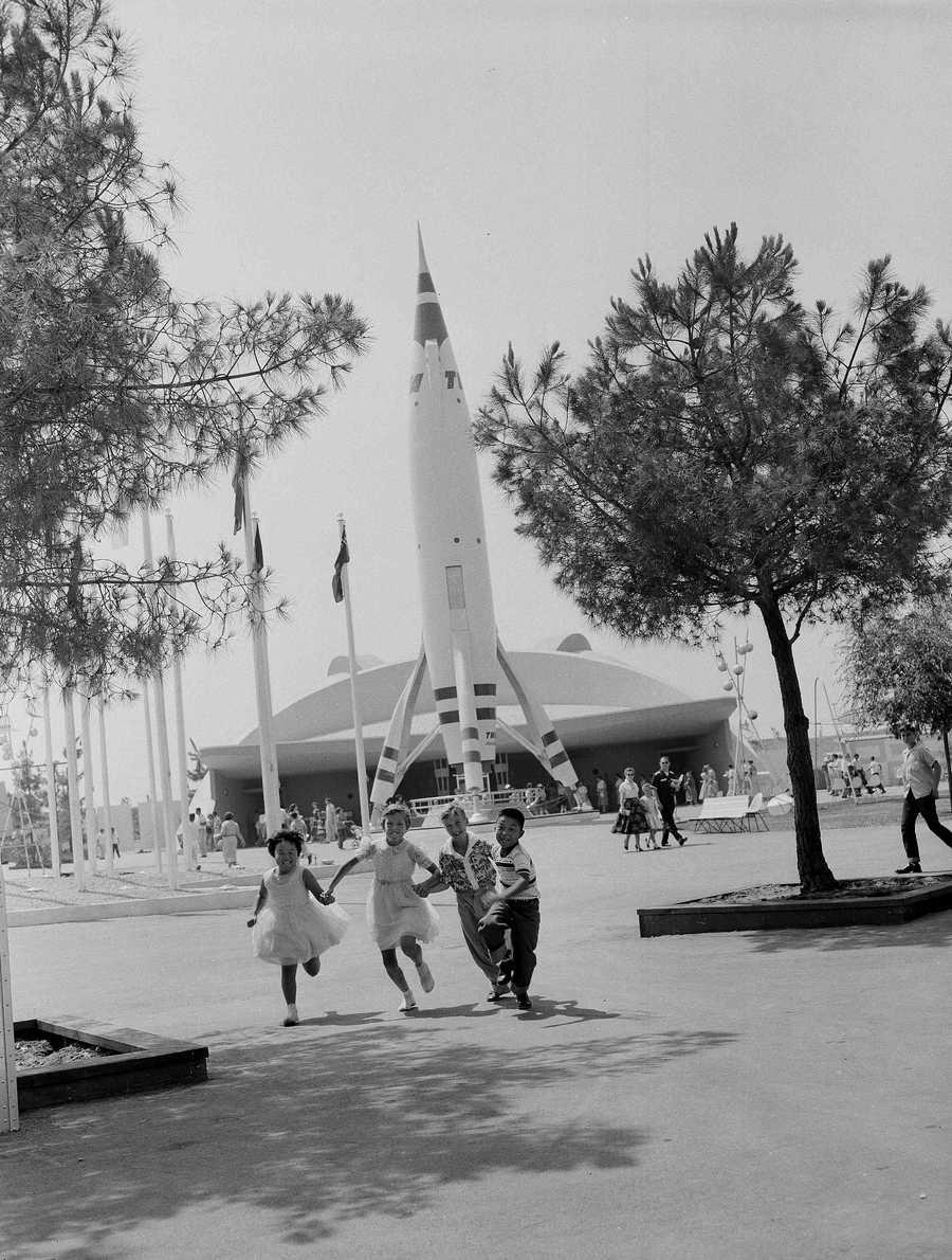Unidentified children visiting Disneyland in Calif., July 22, 1955.