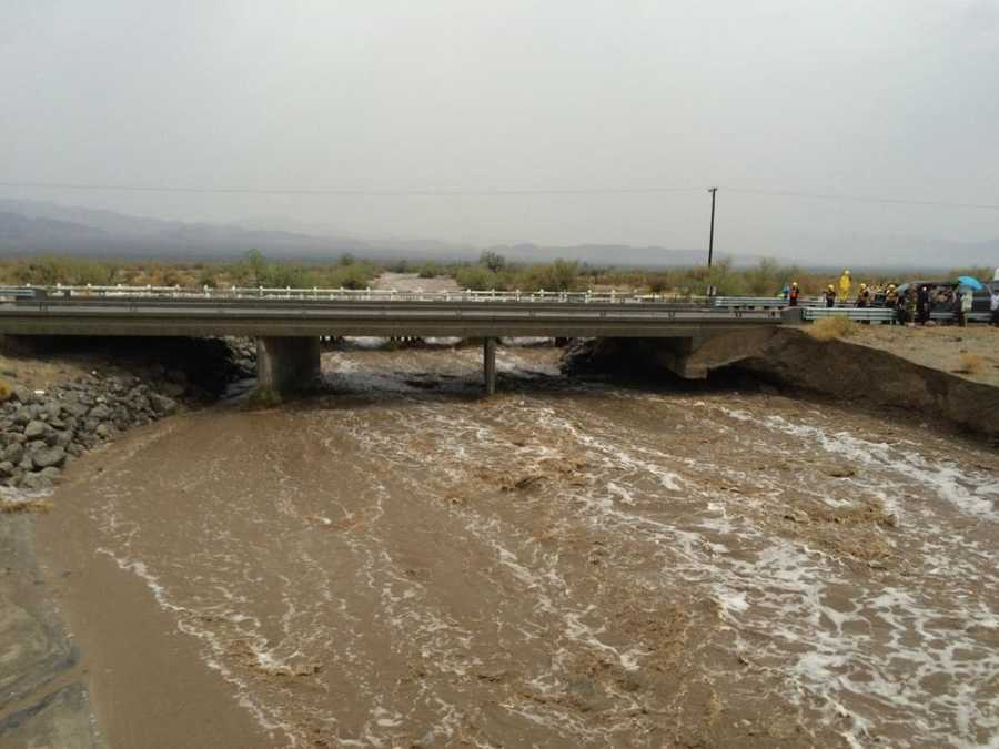 The bridge, which carries the eastbound interstate about 15 feet above a normally dry wash, snapped and ended up in the flooding water below, the California Highway Patrol said, blocking all traffic headed toward Arizona.
