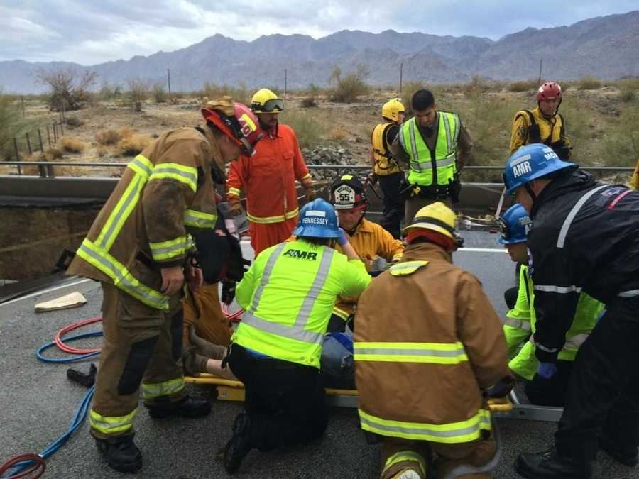 The collapse on Interstate 10 in southeastern California Sunday afternoon left one driver injured, stranded numerous motorists and complicated travel for countless thousands for what officials warned could be a long time.