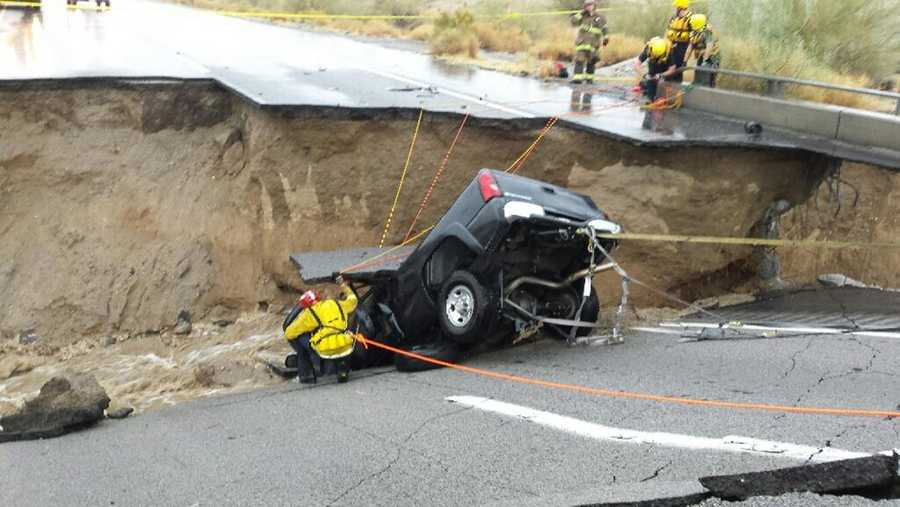 Interstate 10 was closed indefinitely in both directions in California after flooding rain caused at least one bridge to collapse.