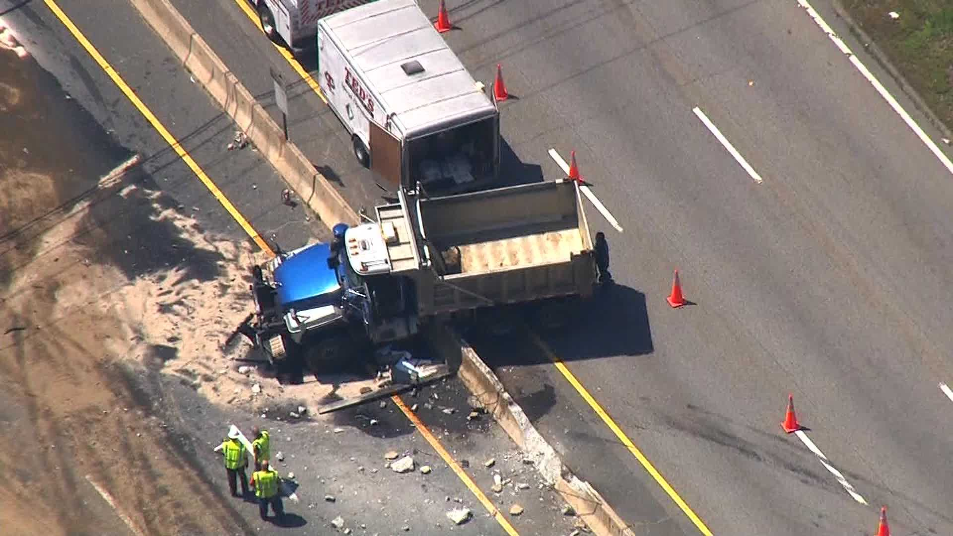 Sky 5 showed the truck sitting on the center median wall on Route 9 in Westborough.