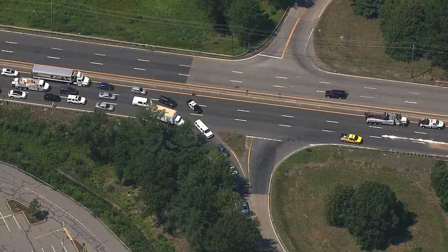 Traffic along Route 9 eastbound was shutdown. Drivers were being detoured around the crash using a side road.