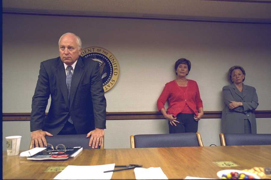 Vice President Cheney with Laura Bush, Lynne Cheney and Senior Staff in the President's Emergency Operations Center (PEOC)