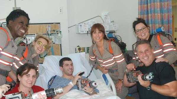 The cast of Ghostbusters visited with patient Patrick McGaffigan on Saturday.