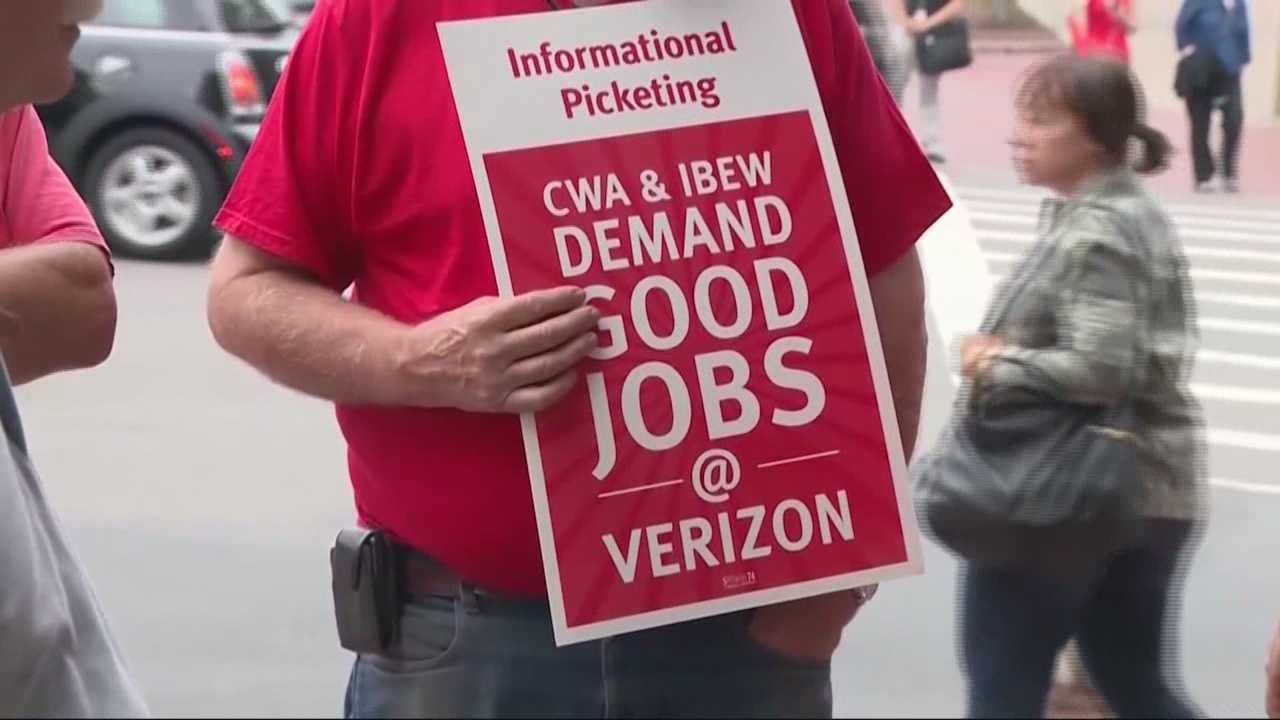 Verizon workers in nine states could walk off the job as soon as early Sunday if union negotiators don't reach an agreement over benefits with the wireless carrier.