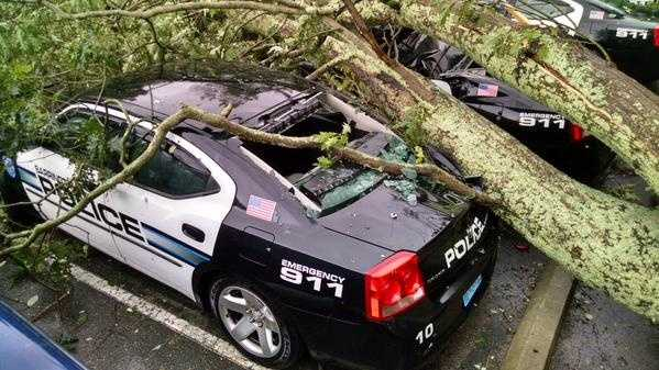 Trees down at the Barrington Police Station.