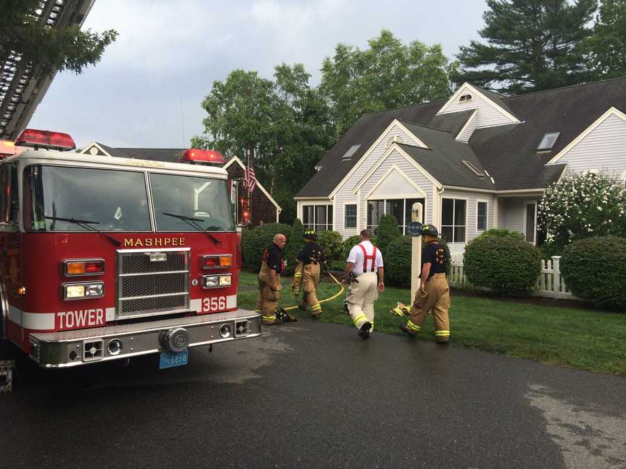 Fire crews respond to the report of a lightning strike in Mashpee.