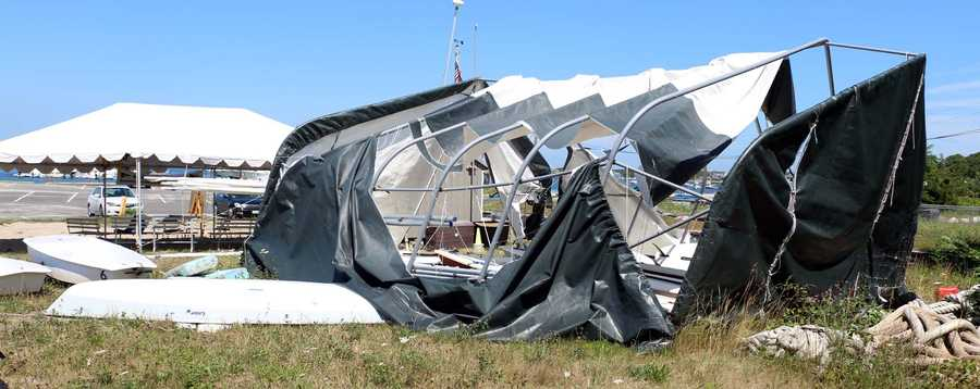In Monument Beach, a large tent was torn to shreds at the Monument Beach marina.