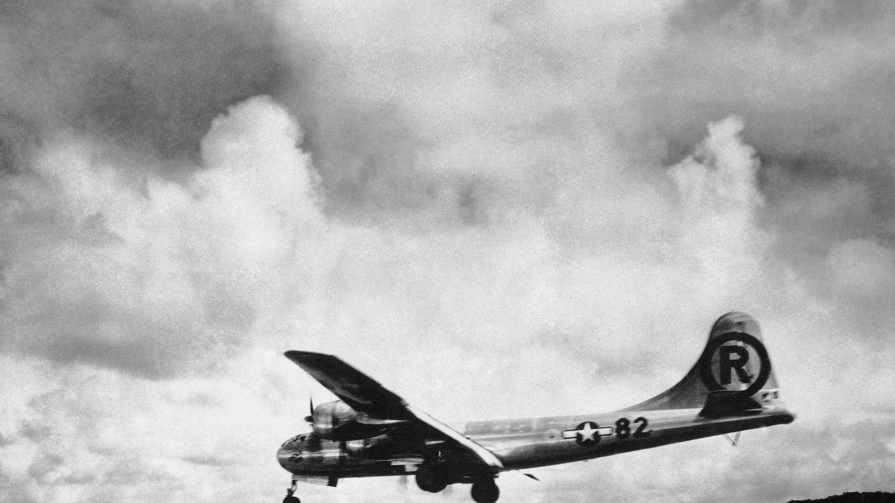 "In this Aug. 6, 1945 file photo, the ""Enola Gay"" Boeing B-29 Superfortress lands at Tinian, Northern Mariana Islands after the U.S. atomic bombing mission against the Japanese city of Hiroshima."