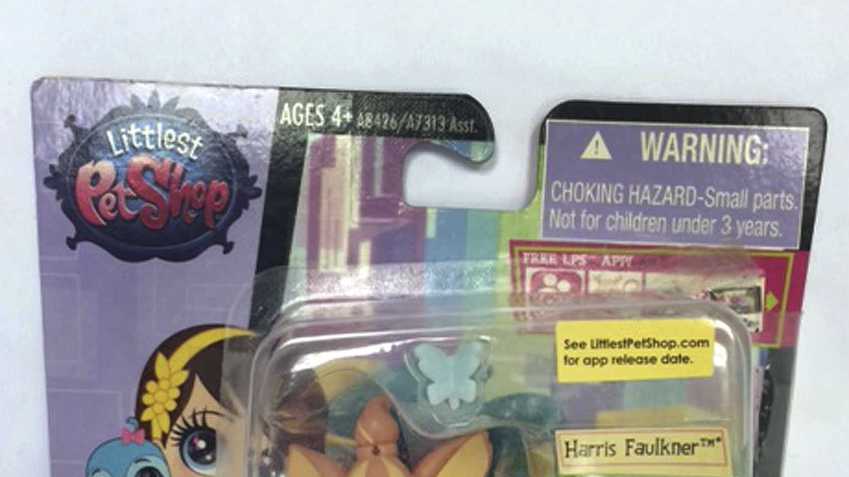 "This June 23, 2015 photo released by the Hogan Lovells law firm shows toys from Hasbro's ""Littlest Pet Shop"" line in New York, including characters named Benson Detwyler and Harris Faulkner. Fox News anchor Harris Faulkner sued Hasbro Monday, Aug. 31, 2015, in federal court in New Jersey for more than $5 million over the toy that shares her name. Harris' suit claims Hasbro wrongfully appropriated her name and persona with its plastic ""Harris Faulkner"" hamster. ("