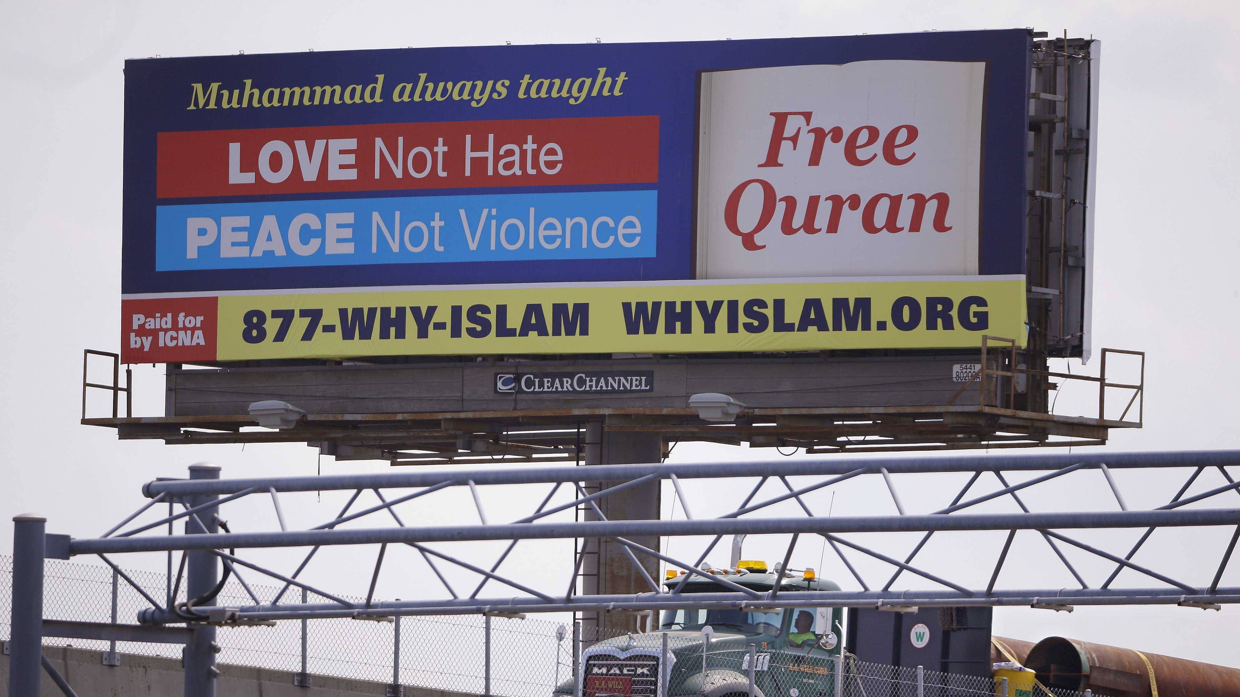 In this Monday, Aug. 31, 2015 photo a billboard proclaims the teachings of Islam near the Massachusetts Avenue Exit of I-93 north in Boston. Dozens of billboards with Muslim themes are sprouting nationwide, proclaiming what organizers say is the true message of Islam and its prophet, Muhammad: peace and justice, not extremism and violent jihad.