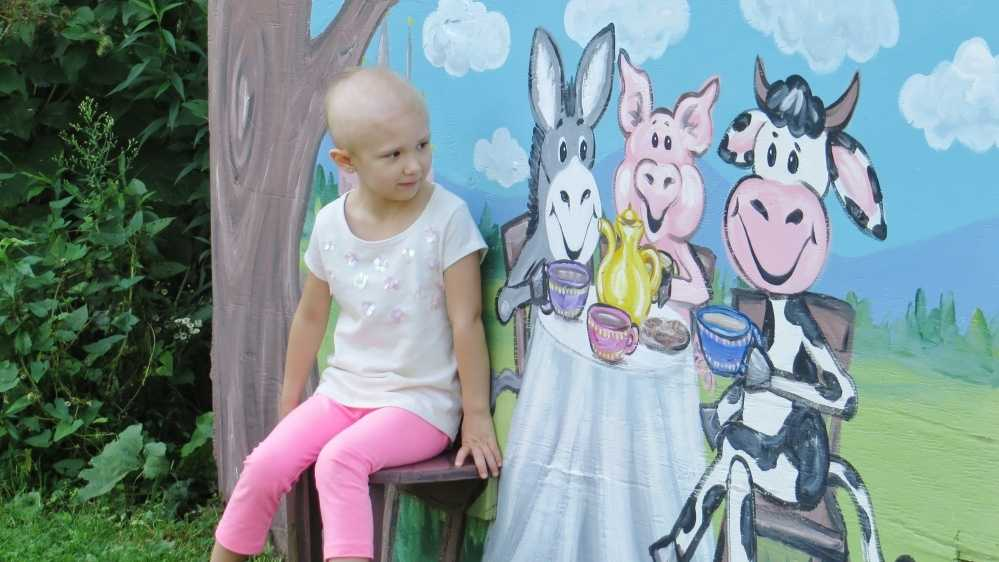Mackenzie Biros, 5, of Cheshire, Mass., looks at a mural during an outing at a farm in Cheshire. The girl, who is being treated for a rare kidney cancer, is part of a photographer's project called Lens of Love.