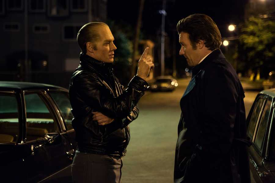 "(L-r) JOHNNY DEPP as Whitey Bulger and JOEL EDGERTON as John Connolly in the drama ""BLACK MASS,"" a presentation of Warner Bros. Pictures in association with Cross Creek Pictures and RatPac-Dune Entertainment, released by Warner Bros. Pictures."