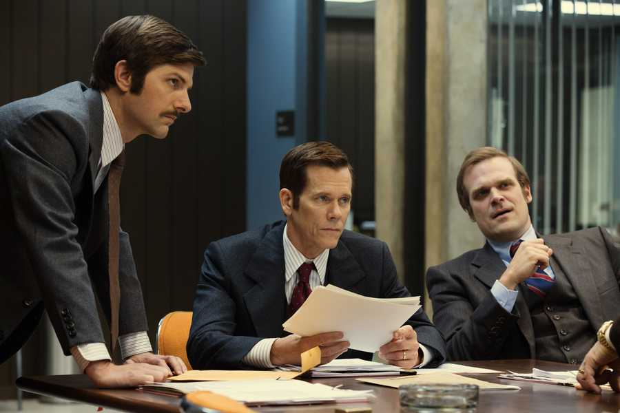 "(L-r) ADAM SCOTT as FBI Agent Robert Fitzpatrick, KEVIN BACON as FBI Agent Charles McGuire and DAVID HARBOUR as John Morris in the drama ""BLACK MASS,"" a presentation of Warner Bros. Pictures in association with Cross Creek Pictures and RatPac-Dune Entertainment, released by Warner Bros. Pictures."