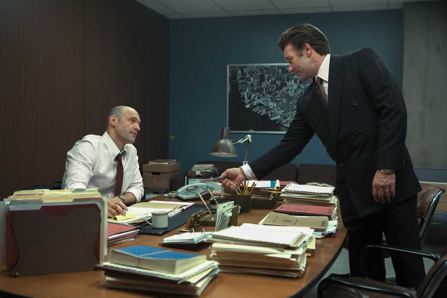 "(L-r) COREY STOLL as Fred Wyshak and JOEL EDGERTON as John Connolly in the drama ""BLACK MASS,"" a presentation of Warner Bros. Pictures in association with Cross Creek Pictures and RatPac-Dune Entertainment, released by Warner Bros. Pictures."