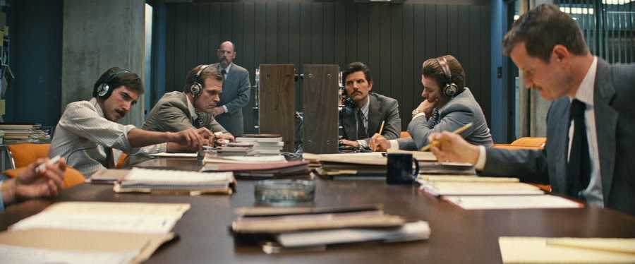 "(Seated, center L-r) DAVID HARBOUR as John Morris, ADAM SCOTT as FBI Agent Robert Fitzpatrick and JOEL EDGERTON as John Connolly in the drama ""BLACK MASS,"" a presentation of Warner Bros. Pictures in association with Cross Creek Pictures and RatPac-Dune Entertainment, released by Warner Bros. Pictures."