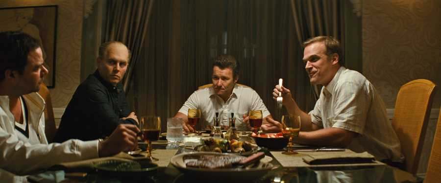 "(L-r) RORY COCHRANE as Stephen Flemmi, JOHNNY DEPP as Whitey Bulger, JOEL EDGERTON as John Connolly and DAVID HARBOUR as John Morris in the drama ""BLACK MASS,"" a presentation of Warner Bros. Pictures in association with Cross Creek Pictures and RatPac-Dune Entertainment, released by Warner Bros. Pictures."