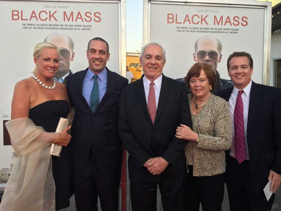 Black Mass co-author Gerard O'Neill (center), wife Janet, and their family at the Black mass premiere in Brookline on Sept. 15, 2015.