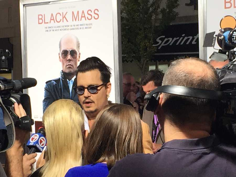 "Actor Johnny Depp arrives on the red carpet for the premiere of ""Black Mass"" in Brookline on Sept. 15, 2015."