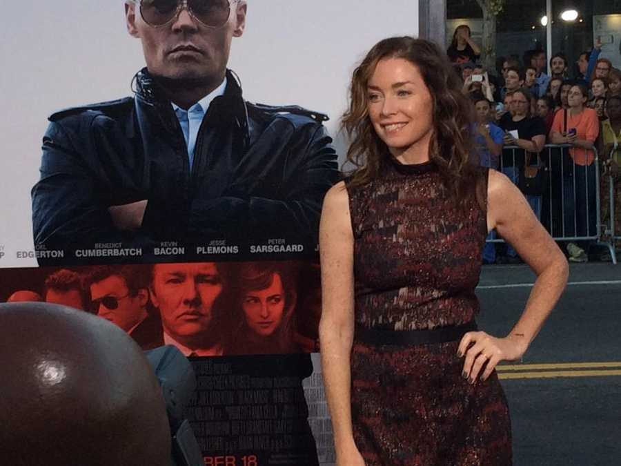 "Actress Julianne Nicholson on the red carpet for the ""Black Mass"" premiere. Nicholson is a Massachusetts native."