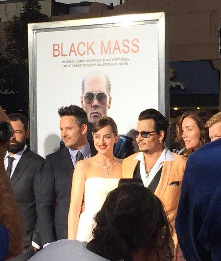 "Stars of the movie ""Black Mass"" were all smiles before a special screening of the film in Brookline on Sept. 15, 2015."