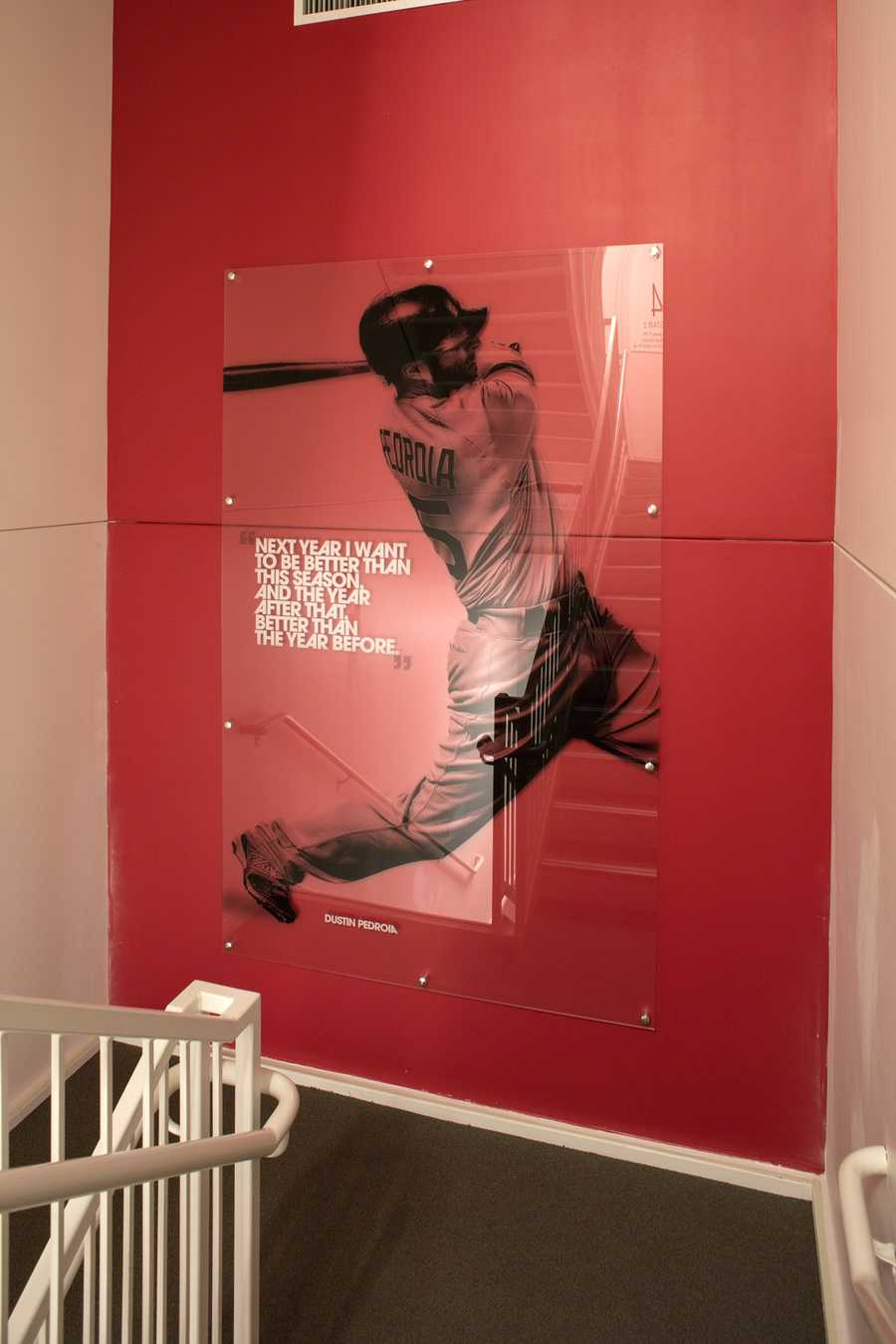 Staircase featuring Boston Red Sox Dustin Pedroia