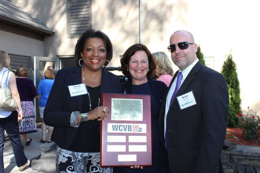 WCVB Director of Community Affairs Karen Holmes Ward, Girl Scouts of Eastern Massachusetts CEO Patricia Parcellin, and WCVB Local Sales Manager Brian Murphy.
