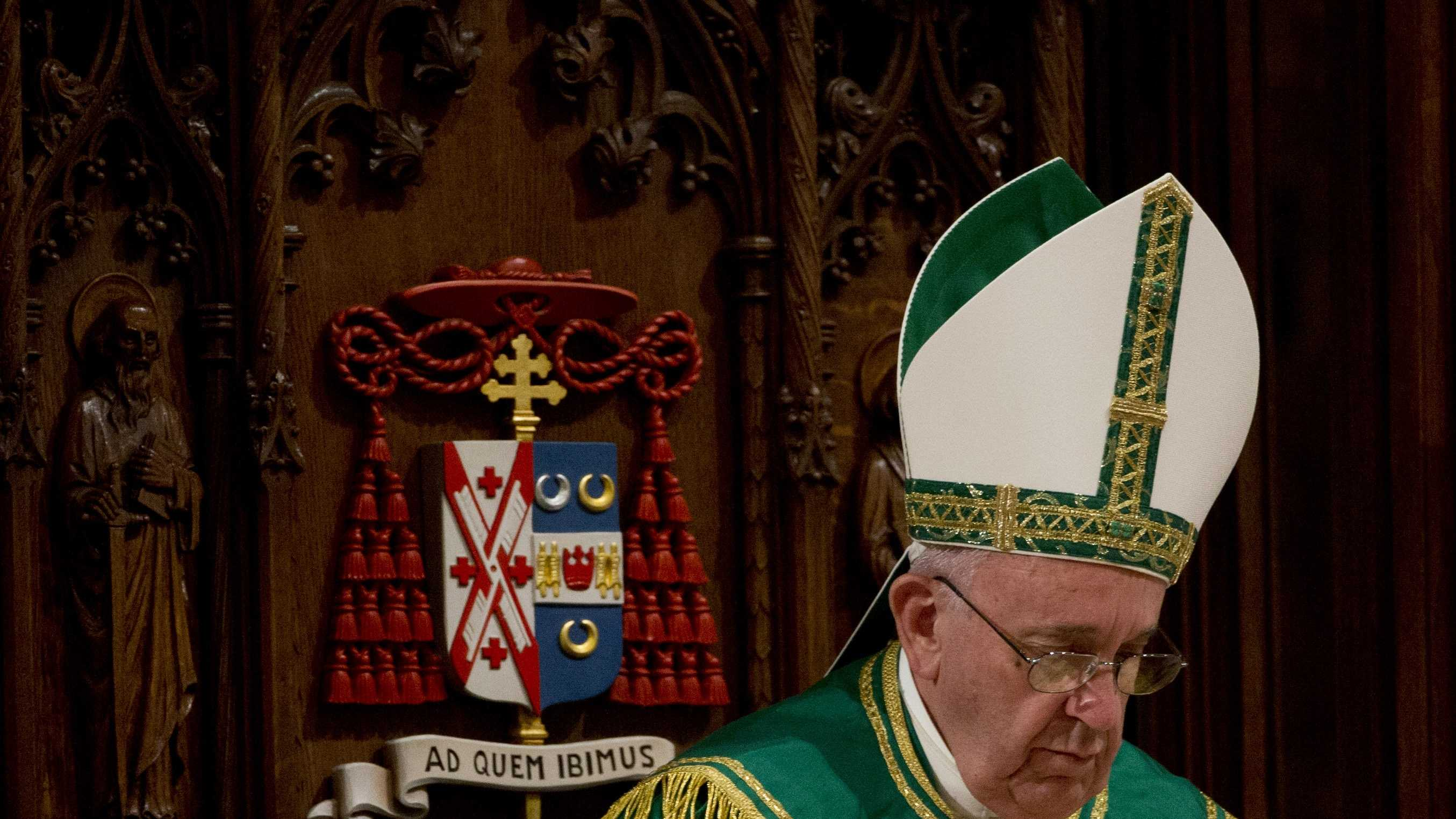 Pope Francis leads an evening prayer service at St. Patrick's Cathedral, Thursday, Sept. 24, 2015, in New York. (AP Photo/Alessandra Tarantino)