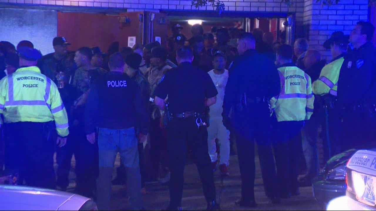 Several people were pepper sprayed, others were taken into custody, and a college party night was shut down early Friday night at the Palladium in Worcester after police tried to disperse a crowd.