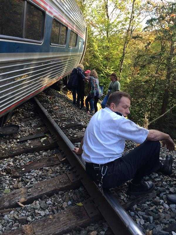Amtrak tweeted that Train 55, the Vermonter, derailed in the area.