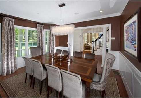 A dining room with wainscoting.