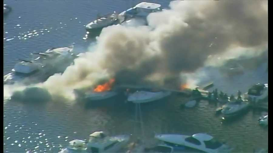 At least three boats caught fire in a Quincy marina.