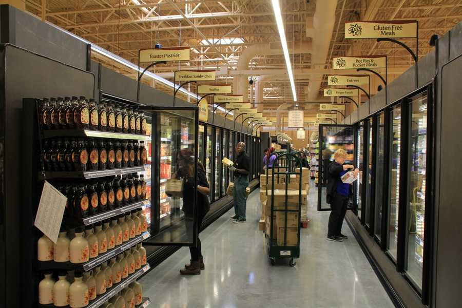 Workers were stocking the frozen foods section when we toured the store Thursday.