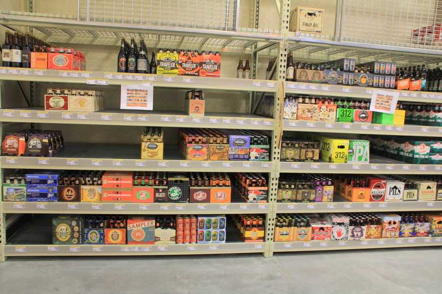 Workers were still stocking all the craft beers that will be available.