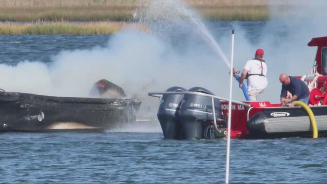Flames erupt on a Cape Cod dock, damaging at least three boats.