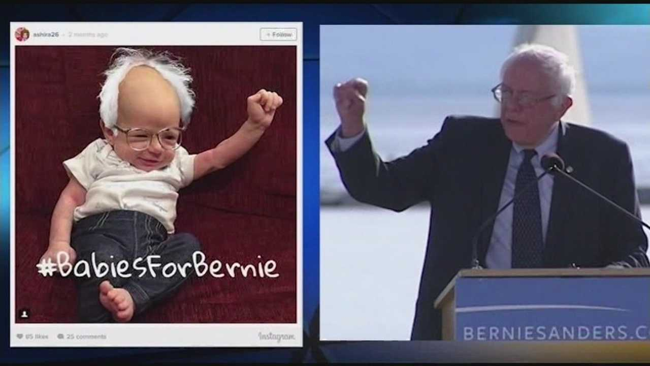 Supports of the Democratic presidential candidate are posting pictures of their babies dressed up as Bernie Sanders.