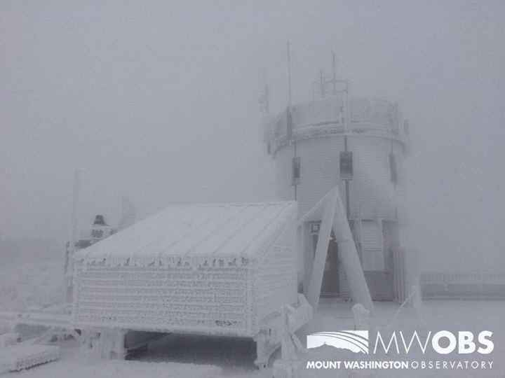 This image shows the summit of Mount Washington in northern New Hampshire.  The peak is 6,288 feet above sea level.