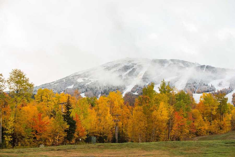Two seasons in one photo in Sugarloaf, Maine.