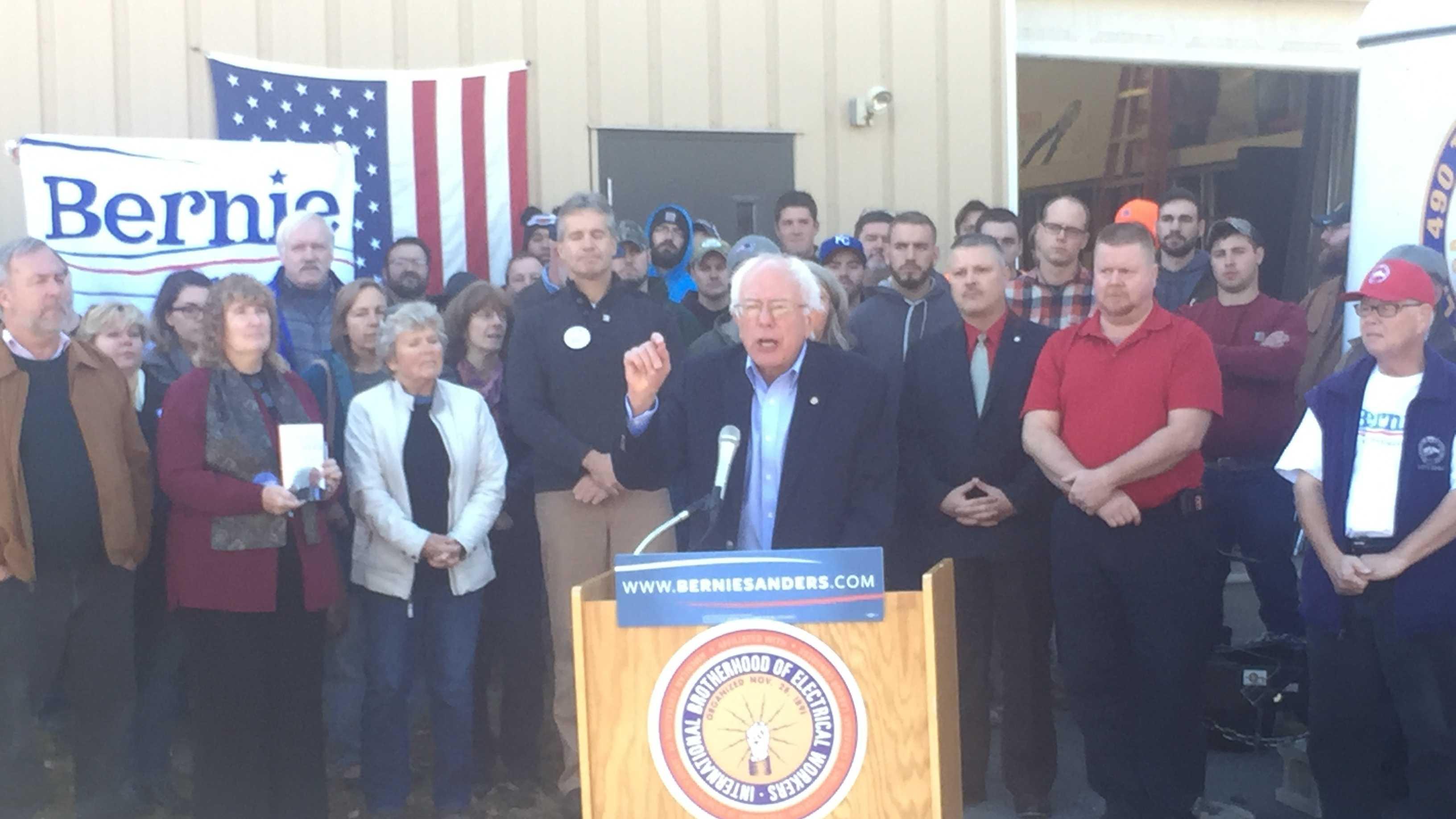 Sen. Bernie Sanders speaks at a news conference in Concord, N.H. on Saturday