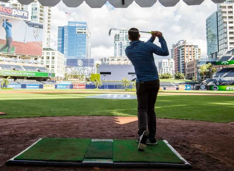 Ever wonder what it would be like to hit a golf ball from home plate?