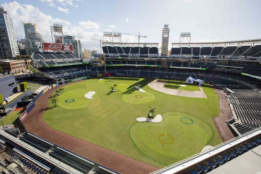 It's a 1,002-yard, 9-hole golf course built entirely inside the MLB stadium.