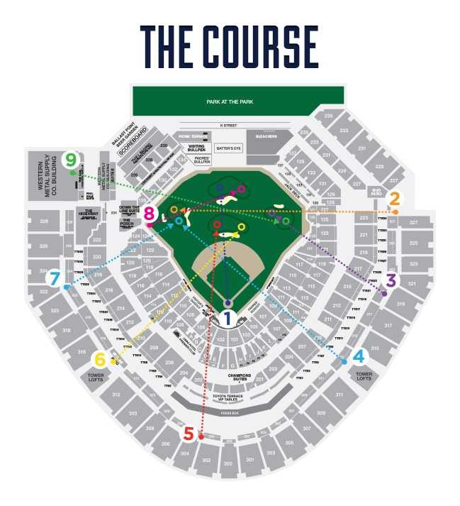 So how do you make a baseball stadium into a 9-hole golf course? Here's a look at the course.