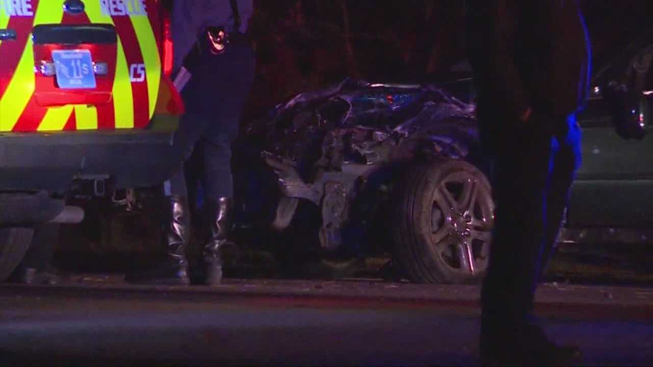 A pedestrian struck and killed in an accident involving a total of   5 cars.