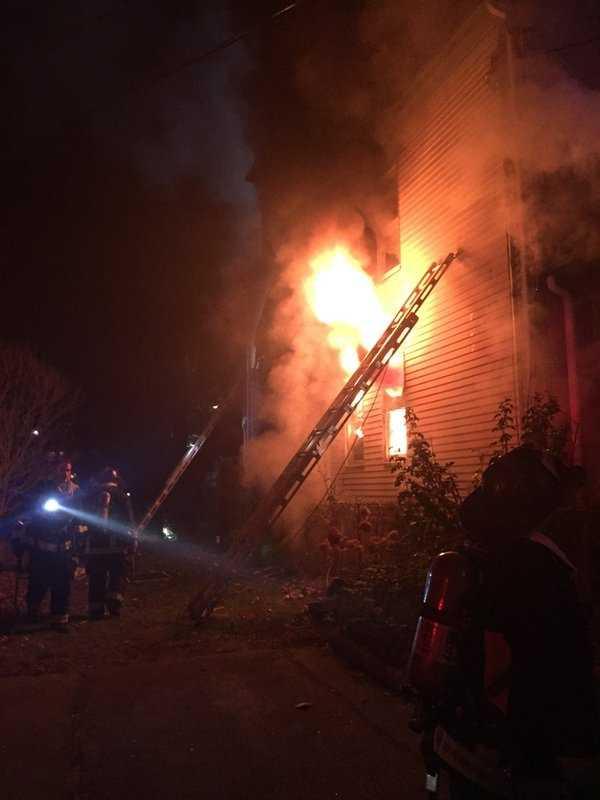 10 people were in a home that caught fire Saturday evening in the Hyde Park section of Boston.